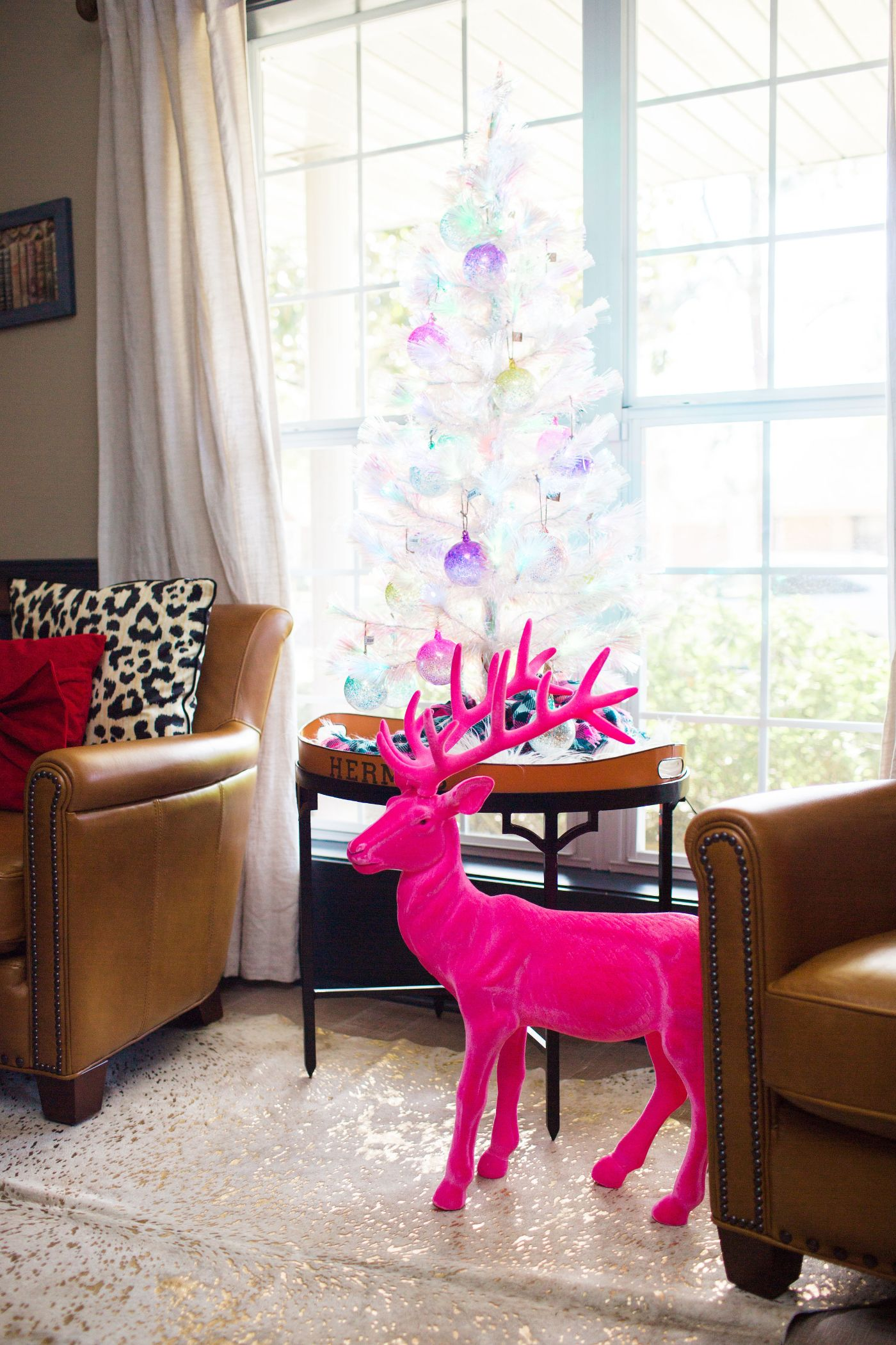 Bright, Bold, and Pink Christmas Home Office